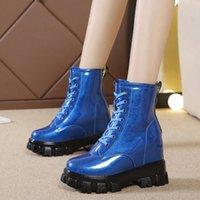 RIMOCY NOUVELLE CHUNKY Platform Boot Boot pour Femmes Étanche Étanche Cache Hiver Chaussures d'hiver Femme Épais Épais Pattent Cuir Bottes Mujer U1RK #