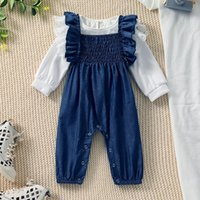 Clothing Sets Baby Girls Fashion Trendy Outfit Solid Color Lace Long Sleeve T-Shirt Snaps Suspenders Pants For Toddlers 6 Months To 3 Years