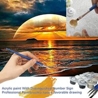Paintings DIY 40x50cm Paint By Numbers For Landscapes Sunset Seaside Home Decoration Oil Painting Kit Full Set Adults F48