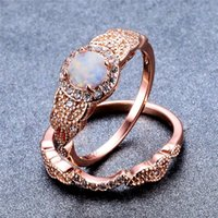 Wedding Rings White Opal Round Stone Ring Set Luxury Crystal Small Zircon Engagement Rose Gold Color Sets For Women Jewelry