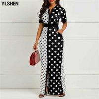 Robes africaines pour femmes Dashiki Polka Dot Vêtements africains Plus Taille Été Blanc Blanc Noir Imprimé Rétro Rétro Long Long Afrique Robe Y0706