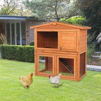 Waco Rabbit Hutch con tetto, 40 pollici a 2 livelli in legno Casa di pollo per animali domestici, coniglietto all'aperto Hutches gallina per piccoli animali