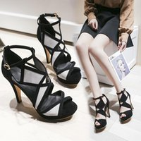 Dress Shoes Sexy High Heels Women Pumps Simple Elegant Block Ladies Sandals Buckle Style Nightclub Female