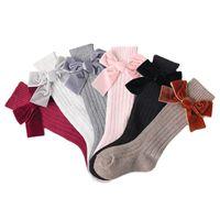 Chaussettes d'enfants d'hiver pour filles Princesse Chaussettes Big Bows High Bread Bébé Longues Chaussettes pour enfants Nouveau-né Chaussette en coton 1019 Y2