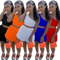 Women Two Piece Dress summer Fashion multi color One shoulder Lala dress tennis dress casual pleated skirt oblique shoulder skirt suit