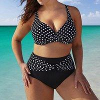 One-Piece Suits Women Summer Polka Dots Bikini Sets Two Piece Swimsuits Swimwear Beach Suit