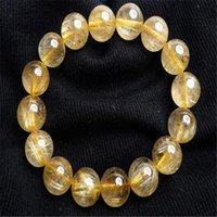 Genuine Gold naturale Rutilato Quartz Crystal Stone Stretch Donne Uomo Strètch Bracciale ricchezza 13.5-14mm perline, fili