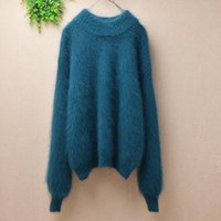 Ladies Women Fashion Loose Hairy Fuzzy Angora Fur Knitted Winter Clothes Pullover Long Lantern Sleeves Mink Jumper Women's Sweaters