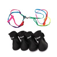 44inch Long Rainbow Nylon Small Medium Size Dog Pet Harness Leash With 4 Pieces Rain Boots (Black, L) Collars & Leashes