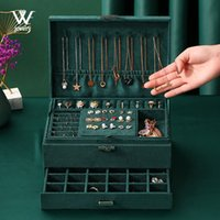 WE 3-layers Green Stud Jewelry Organizer Large Ring Necklace Makeup Holder Cases Velvet Jewelry Box with Lock for Women