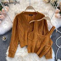 Gaganight Корейские женщины 2 штуки набор вязаный свитер кардиган сексуальный без рукавов танк камизол весенний растягивающий твердый 2шк наряд 210519