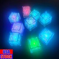 LED artificial cubos de gelo luminosos luzes novidade iluminação Bar Crystal Cube Light-up brilhando para o partido romântico casamento casamento decoração presente