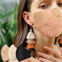 Sparkly Blink Jewel Dantel Yüz Moda Parti Kadınlar Maske Moda Toz Güneş Yıkanabilir