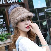 fashion Beanie Skull Caps Hat For Women With Fur Pompons High Quality Thicken Female Knitted Real Winter