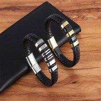 Mode boucle magnétique en acier inoxydable Black Homme Charme Bracelet En Cuir Tissé Punk Rock Bijoux Accessoires Grossistes Bracelets