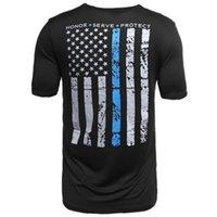 T-Shirt Schwarzer amerikanischer Flagge-Muster gedruckt Casual Cotton Herren T-Shirts für Sommer