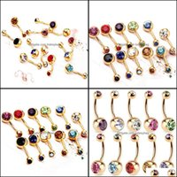 & Bell Rings Jewelrystainless Steel Gold Crystal Rhinestone Belly Button Ring Navel Bar Body Piercing Jewelry Drop Delivery 2021 Bsxvm