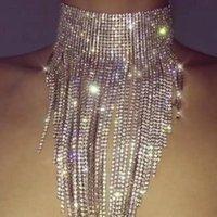 Collana di lusso del girocollo della catena della catena della catena lunga della catena del rhinestone di lusso per le donne Shiny Crystal Dichiarazione Collane Collane Colleghe
