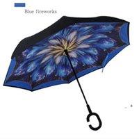 Maniglia inverso Ombrello Stampa di stampa FIMBRIA Antivento Invertiti Protezione solare Protezione della pioggia Ombrelloni Piegabile a doppio strato invertito OWE6555