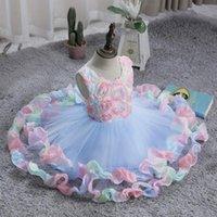 Filles vêtements mignon pageant fête princesse robes élégant coloré couture gonfleuse robe fille fille arc en ciel gâteau voile pour 3-10y fille