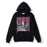 Fashion Sweatshirts Brand Offs Hip Hop Landscape Oil Painting Mens Hoodies Printed Hoodie Casual Harajuku Pullovers White Black Back Printing x Sweatshirt 71a1