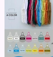 Sacos de compras bolsas Shopper Tote malha rede de algodão tecida sacos reusável sacos de armazenamento de frutas sacos de armazenamento home reusável EWD8860