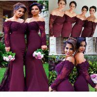2018 Burgundy Bridemaid Dresses Long Sleeves 인어 Sash Beaded Lace Mermaid 웨딩 게스트 가운 섹시한 숄더 하녀 명예 드레스