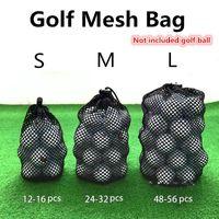 Golf Training Aids Sports Mesh Net Bag Black Nylon Bags Tennis 16 32 56 Ball Carrying Drawstring Pouch Storage Accessories