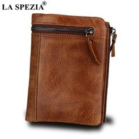 Carteiras La Spezia Marca Curto Homens Carteira Brown 100% Couro Genuíno Slim Vintage Zip Moeda Bolso Bolsa De Bolsa Para Homens