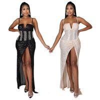 Sexy tiefe V-Ausschnitt Spaghetti Strap Club Kleid Frauen Seite High Split Sleeveless Abendkleider Pailletten Perlen Strass Vestido