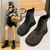 Boots Full diamond big head Martin boots womens 2021 autumn and winter wind blingbling thick bottomed muffin locomotive