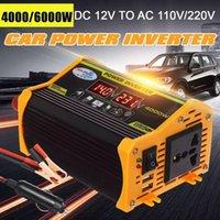 スマートパワープラグピーク4000W 12V~110V / 220V LEDディスプレイカーインバータコンバータアダプタデュアルUSB電圧トランス変更サイン波