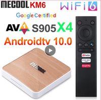 MECOOL KM6 طبعة ديلوكس Amlogic S905x4 TV Box Android 10 2 جرام 16/4 جرام 32 جرام / 4 جيجابايت 64 جيجابايت واي فاي 6 جوجل دعم معتمد AV1 BT5.0 1000 متر مربع