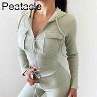 Piretacle 2 набор пищей женщины нить повседневная молния двойной карман с капюшоном верхние колготки работает спортивный костюм фитнес одежда внешняя одежда 210802
