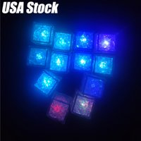 Flashing Ice Cube LED Fluorescent Light Induction Flash Ice Light Artificial Induction Block Bar Wedding Champagne Supplies