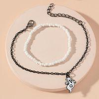 Link, Chain Retro Gothic Style Beaded Bracelet Set Halloween Gift Black And White Creative Handmade Rice Bead Ghost Pendant Unisex