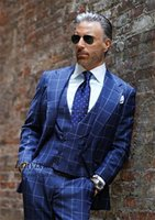 Men's Suits & Blazers Classic Plaid Royal Blue Men 3 Pieces Set Male Prom Party Blazer Handsome Groom Tuxedos Formal Business Terno Masculin