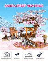 Sembo 601075 City Street View Series Idea Sakura Stall Inari Shrine Building Block Romanic Cherry Blossom Brick Toy for Children X0503