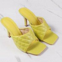 Manlegu PU Diamond Square Head Peep Toe 9cm высокие тапочки на высоком каблуке Летняя мода скольжения на тонких каблуках слайды женщины мул вечеринка 41 42 O32S #