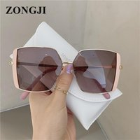 نظارات شمسية Zongji إطار كبير السيدات أزياء العلامة التجارية تصميم نظارات الرجعية الأسود المعادن الشارع الشارع الشمس UV400