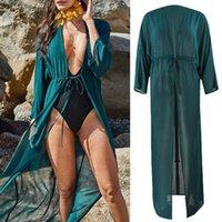 여성 시폰 맥시 긴 수영복 덮개를 덮으십시오 반투명 해변 오픈 프론트 카디건 여성 수영복