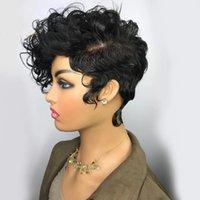 Peruviaans Haar Pruik Krullend 250% Korte Bob Pixie Cut None Lace Front Pruiken voor Black Women Daily Cosplay
