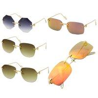 Venda por atacado estilo moda óculos de sol sem raio quadrado unisex metal 18k óculos de sol de ouro uv400 retângulo dirigindo c decoração cortar espelho de lente superior