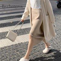Bazhenova Kadınlar Örme Etekler Kızlar Sonbahar Kış Kadın R1035 Için Yüksek Belli Bölünmüş Katı Renk