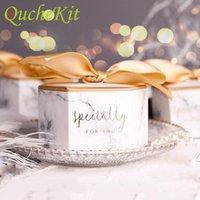 50/100 pcs padrão de embalagem de presente de mármore com seda bowknot papel casamento favores Caixas de chocolate de doces para festa