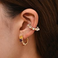 Hoop & Huggie 3 Pcs set Geometric Rainbow Crystal Small Round Earrings For Women Vintage Gold Color Rivet Ear Cuff Statement Jewelry