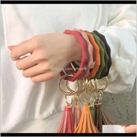 Favor Event Festive Party Supplies Home & Gardensile Wristlet Keychain With Leather Tassel Bangle Keyring Large Circle Key Ring Bracelet For