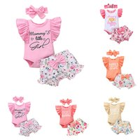 kids Clothing Sets Girls Flowers outfits infant ruffle Flying sleeve letter Tops+Floral shorts+Headband 3pcs set summer fashion Boutique baby Clothes Z3807