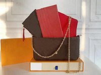 Saco de luxo Pochette Ladies Patent Leather Felicie 3 Parte Set Carteira Messenger Bolsa Presbyopia Sacos de Ombro Senhora Cinto Navio grátis com caixa