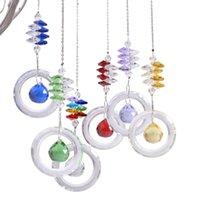 Garden Decorations 6 Chakra Crystal Guardian Suncatcher Dreamcatcher Rainbow Octagon Beads Ornaments Yard Hanging Pendant Home Wedding Decor